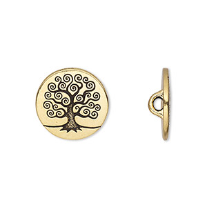 button, tierracast, antique gold-plated pewter (tin-based alloy), 16mm flat round with tree of life and hidden closed loop. sold per pkg of 2.