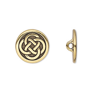 button, tierracast, antique gold-plated pewter (tin-based alloy), 16mm flat round with celtic knot and hidden closed loop. sold per pkg of 2.
