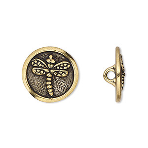 button, tierracast, antique gold-plated pewter (tin-based alloy), 17mm flat round with dragonfly and hidden closed loop. sold per pkg of 2.