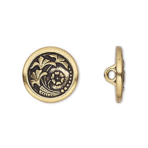 button, tierracast, antique gold-plated pewter (tin-based alloy), 17mm flat round with czech flower and hidden closed loop. sold per pkg of 2.