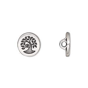button, tierracast, antique silver-plated pewter (tin-based alloy), 12mm flat round with bird in tree and hidden loop. sold individually.