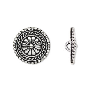 button, tierracast, antique silver-plated pewter (tin-based alloy), 18mm beaded flat round with flower design and hidden loop. sold per pkg of 2.