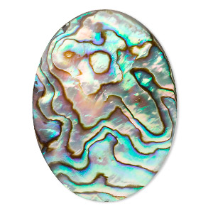 cabochon, abalone shell (coated), 40x30mm calibrated oval, mohs hardness 3-1/2. sold individually.