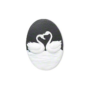 cabochon, acrylic, black and white, 25x18mm non-calibrated oval cameo with swans. sold individually.