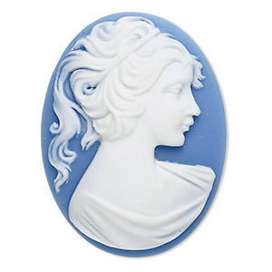 cabochon, acrylic, white and blue, 40x30mm non-calibrated oval cameo with woman. sold individually.