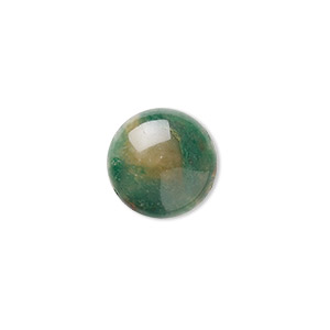 cabochon, african jade (natural), 16mm calibrated round, b grade, mohs hardness 7. sold per pkg of 2.