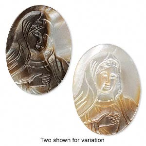 cabochon, black lip shell (natural), 38x28mm-38x29mm laser-carved non-calibrated oval cameo with madonna, mohs hardness 3-1/2. sold individually.
