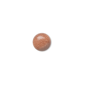 cabochon, brown goldstone (man-made), 8mm calibrated round. sold per pkg of 10.