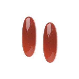 cabochon, carnelian (dyed / heated), 22x8mm calibrated oval, b grade, mohs hardness 6-1/2 to 7. sold per pkg of 2.