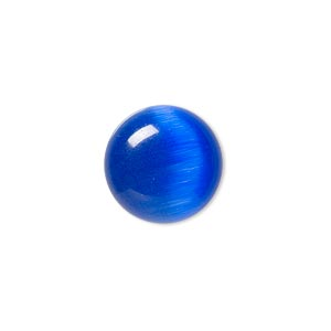 cabochon, cats eye glass, blue, 16mm calibrated round, quality grade. sold per pkg of 6.