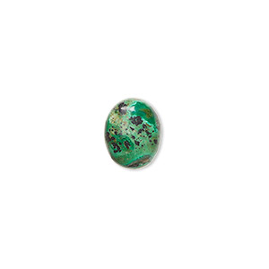 cabochon, chrysocolla (stabilized), 10x8mm calibrated oval, c grade, mohs hardness 2 to 4. sold per pkg of 2.