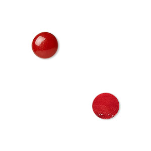 cabochon, coral (dyed), red, 8mm calibrated round, mohs hardness 3-1/2 to 4. sold per pkg of 2.