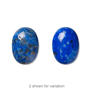 cabochon, denim lapis (natural), 18x13mm calibrated oval, c grade, mohs hardness 5 to 6. sold per pkg of 2.