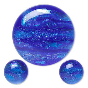 cabochon, dichroic glass, blue and multicolored, 12mm and 30mm non-calibrated round. sold per 3-piece set.
