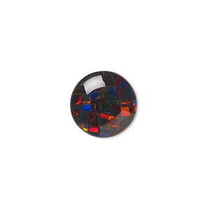 cabochon, gilson, opal (synthetic), mosaic black, 12mm calibrated round. sold individually.