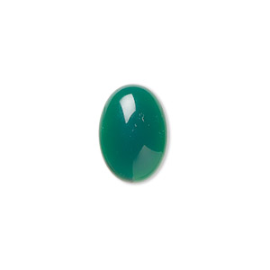cabochon, green agate (dyed), 14x10mm calibrated oval, b grade, mohs hardness 6-1/2 to 7. sold per pkg of 4.
