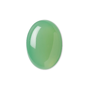 cabochon, green chalcedony (dyed), light to medium, 25x18mm calibrated oval, b grade, mohs hardness 6-1/2 to 7. sold individually.