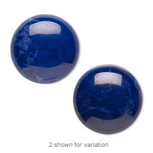 cabochon, howlite (dyed), lapis blue, 20mm calibrated round, b grade, mohs hardness 3 to 3-1/2. sold per pkg of 2.