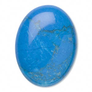cabochon, howlite (dyed), turquoise blue, 40x30mm calibrated oval, b grade, mohs hardness 3 to 3-1/2. sold individually.