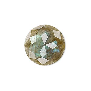cabochon, labradorite (natural), 20mm calibrated cube-cut round, b grade, mohs hardness 6 to 6-1/2. sold individually.