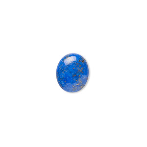 cabochon, lapis lazuli (natural), 12x10mm calibrated oval, b grade, mohs hardness 5 to 6. sold per pkg of 4.