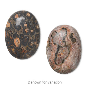 cabochon, leopardskin jasper (natural), 25x18mm calibrated oval, b grade, mohs hardness 6-1/2 to 7. sold per pkg of 2.