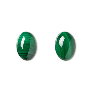 cabochon, malachite (natural), 14x10mm calibrated oval, b grade, mohs hardness 3-1/2 to 4. sold per pkg of 2.
