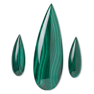 cabochon, malachite (natural), 25x8mm and 50x17mm calibrated pear, b grade, mohs hardness 3-1/2 to 4. sold per 3-piece set.
