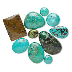 cabochon mix, magnesite and turquoise (dyed / stabilized), blue / green / blue-green, 6mm-25x16mm non-calibrated freeform, mohs hardness 3-1/2 to 4. sold per pkg of 10.