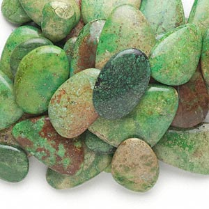 cabochon mix, magnesite (dyed / stabilized), apple green, 24x19mm-57x42mm non-calibrated freeform, mohs hardness 3-1/2 to 4. sold per 1-pound pkg, approximately 40-55 cabochons.