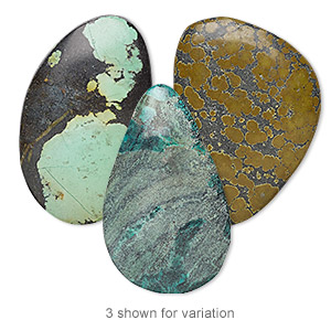 cabochon mix. turquoise (dyed / stabilized), 38x18mm-60x55mm freeform, mohs hardness 5 to 6. sold individually.