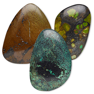 cabochon mix, turquoise (dyed / stabilized), 60x25mm-80x70mm non-calibrated freeform, c grade, mohs hardness 5 to 6. sold individually.