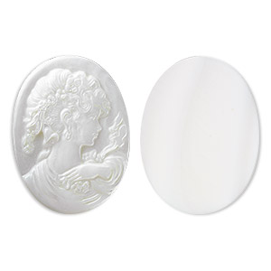 cabochon, mother-of-pearl shell (natural), 40x30mm calibrated carved oval cameo with woman, mohs hardness 3-1/2. sold individually.