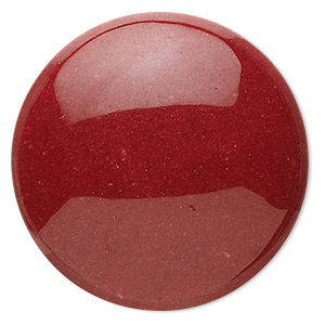 cabochon, mountain jade (dyed), red, 38mm calibrated round, b grade, mohs hardness 3. sold per pkg of 2.