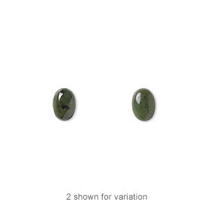 cabochon, nephrite jade (natural), 7x5mm calibrated oval, b grade, mohs hardness 6 to 6-1/2. sold per pkg of 2.