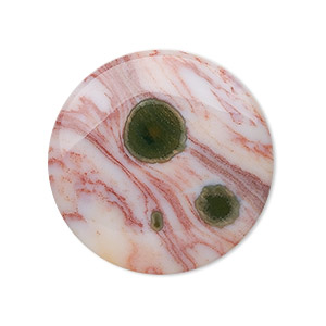 cabochon, ocean jasper (natural), 30mm calibrated round, b grade, mohs hardness 6-1/2 to 7. sold individually.