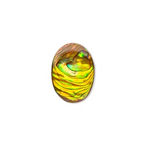 cabochon, paua shell (coated / dyed), gold, 18x13mm calibrated oval, mohs hardness 3-1/2. sold per pkg of 4.