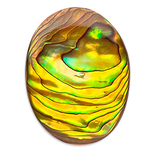 cabochon, paua shell (coated / dyed), gold, 40x30mm calibrated oval, mohs hardness 3-1/2. sold individually.