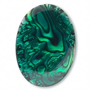 cabochon, paua shell (coated / dyed), green, 25x18mm calibrated oval, mohs hardness 3-1/2. sold individually.