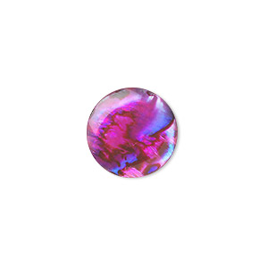 cabochon, paua shell (coated / dyed), pink, 15mm calibrated round, mohs hardness 3-1/2. sold per pkg of 4.