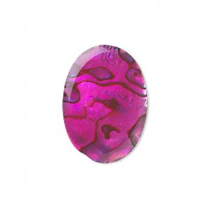 cabochon, paua shell (coated / dyed), pink, 25x18mm calibrated oval, mohs hardness 3-1/2. sold individually.
