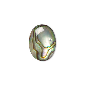 cabochon, paua shell (coated), 16x12mm calibrated oval, mohs hardness 3-1/2. sold per pkg of 4.