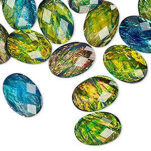 cabochon, resin, opalescent black and multicolored, 14x10mm non-calibrated faceted oval. sold per pkg of 20.