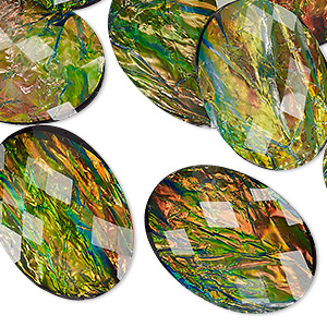 cabochon, resin, opalescent black and multicolored, 25x18mm non-calibrated faceted oval. sold per pkg of 12.