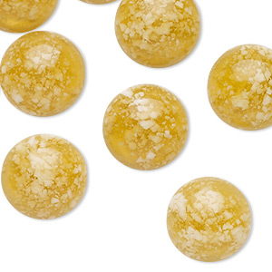 cabochon, resin, transparent and opaque dark yellow and white, 14mm half-drilled non-calibrated round. sold per pkg of 10.