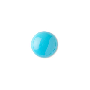 cabochon, sleeping beauty turquoise (stabilized), 12mm calibrated round, b grade, mohs hardness 5 to 6. sold individually.