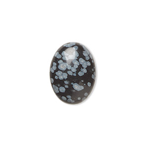 cabochon, snowflake obsidian (natural), 16x12mm calibrated oval, b grade, mohs hardness 5 to 5-1/2. sold per pkg of 6.