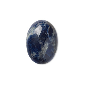 cabochon, sodalite (natural), 25x18mm calibrated oval, b grade, mohs hardness 5 to 6. sold per pkg of 2.