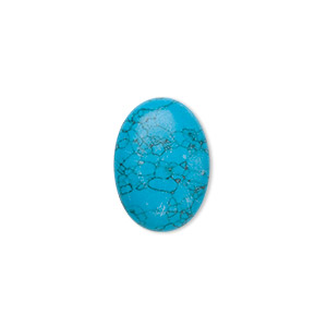 cabochon, turquoise (assembled), 18x13mm calibrated oval, mohs hardness 5 to 6. sold individually.