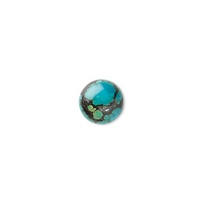 cabochon, turquoise (dyed / stabilized), 10mmcalibrated  round, b grade, mohs hardness 5 to 6. sold per pkg of 4.